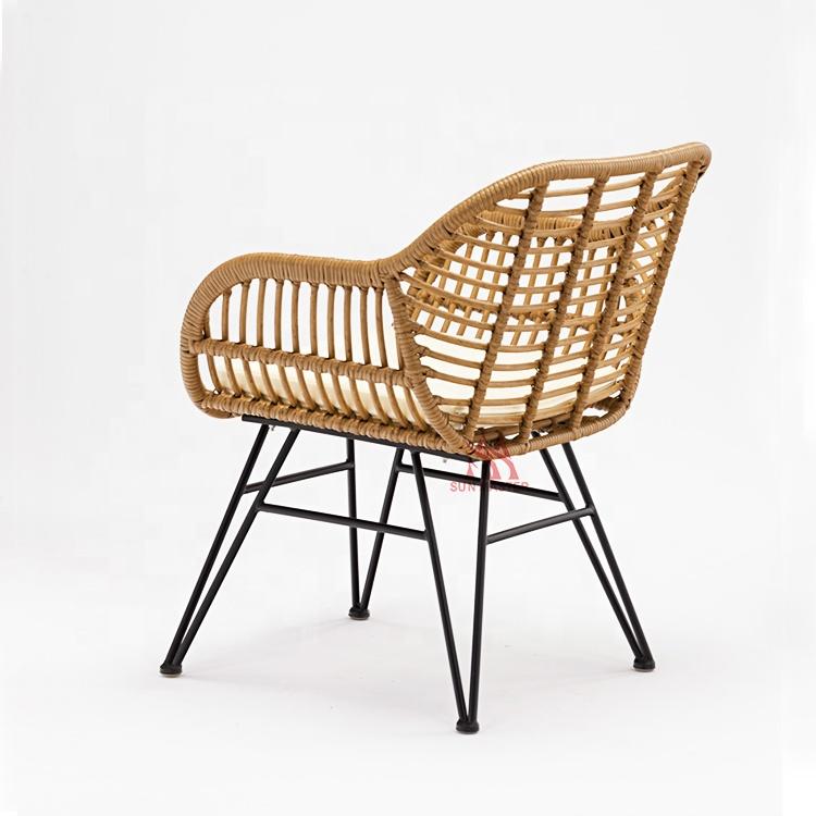 Лидер продаж, уличный Плетеный цветочный стул из ПЭ ротанга с павлином для отдыха, сада, двора, балкона, виллы, металлический обеденный стул с подушкой