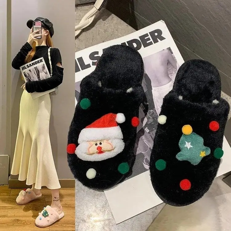 Christmas indoor Fur women slide 2021 Christmas fashion Warm Fluffy slippers home sandal for women and ladies