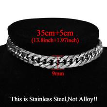 Женское колье-чокер серебряного цвета из нержавеющей стали, массивное ожерелье с кубинскими звеньями, Очаровательное ожерелье в стиле хип-...(Китай)