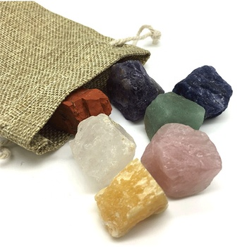 Healing Mixed Polished Crystal Tumbled Rough 7 Chakra Meditation Palm Stones Set