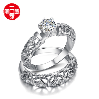 2021 Engagement Ring Diamond Sterling Adjustable Silver Wedding Couple Ring