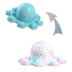 Hot Sale Silicone Reversible Octopus Keychain Flip Push Bubble Pop Fidget Toy