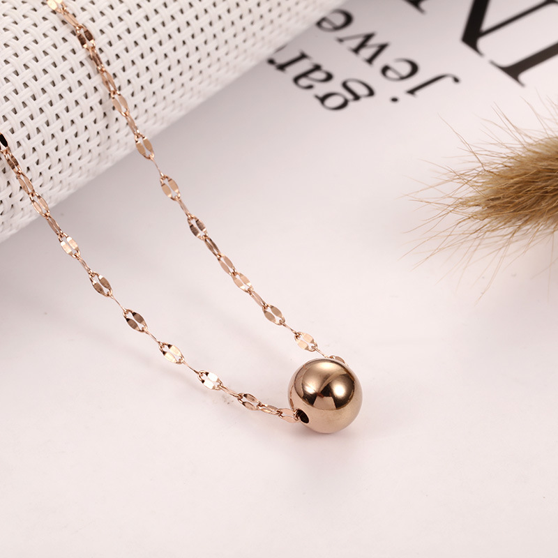 Custom Jewelry Manufacturer Stainless Steel Rose Color Gold Stainless Steel  Solid Ball Pendant Necklace - Buy Yiwu Rose Gold Ball Pendant Necklace  Innovative Products For Import,Fashion Bell Pendant Necklace Pendant For  Best