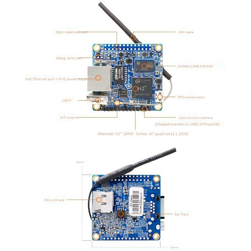 Hot sale Orange Pi Zero Quad Core Open-source 512MB Development board