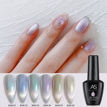 AS 15ml Varnish LED UV Nails Gel Brand Custom Sequins Cat Eye Soak Off Polish Finger Nail Polish BAM