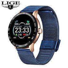 Мужские и женские Смарт-часы LIGE, OLED цветной экран, пульсометр, кровяное давление, многофункциональный режим, спортивные Смарт-часы, фитнес-т...(China)