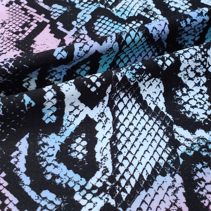 snake printed four side elastic spandex jogging pants warp knitting fabric polyester