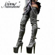 Высокие сапоги до колена на платформе и высоком каблуке 20 см женская обувь из Pu искусственной кожи с узкими ремешками и черной пряжкой сапог...(Китай)