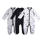 Baby Months Clothes Baby 2021 New Cute Newborn Baby Boy Clothes Romper Solid Color Unisex Baby Footed Sleeper Pajamas 0-18 Months