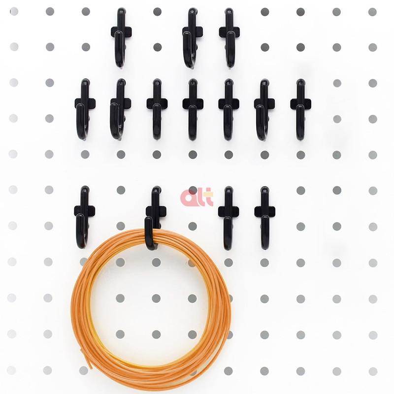 Комплект пластиковых крючков для пегборда, 200 шт., ассортимент крючков для пегборда, черные крючки для пегборда, аксессуары