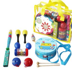 Kindergarten 11pcs Orff Percussion Drum Toy Teaching Kids Educational Wooden Musical Instrument Set