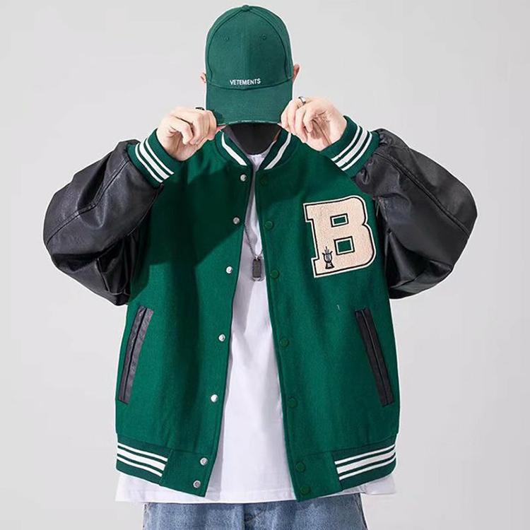 2021 harajuku designer outdoor winter hip hop high street plain baseball uniform coat streetwear unisex women men jaket bomber