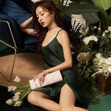 Роскошная сексуальная ночная рубашка с высоким разрезом, женское белье, шелковая атласная ночная рубашка с открытой спиной, ночная рубашка,...(Китай)