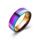 Stainless Steel Tungsten Carbide Rainbow Anodized Ring Temperature Sensitive Changing Color Mood Ring For Men