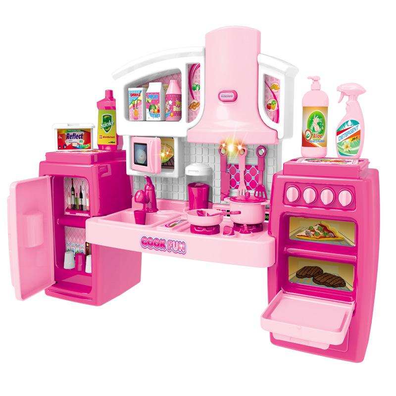 Оптовая продажа, 2020, детский кухонный шкаф для девочек, игрушки для приготовления пищи, игровой дом, набор для ролевых игр, посуда, детская Светодиодная лампа