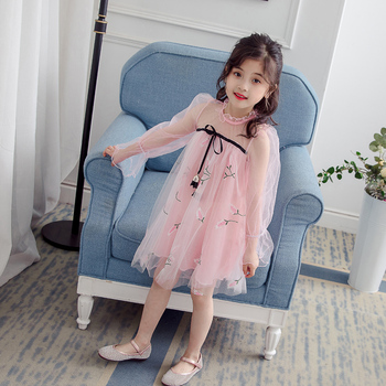 Amazon best seller One Piece Children Boutique Girls long Sleeve Lace Embroidered corn Pattern Fashion Party Dress frock