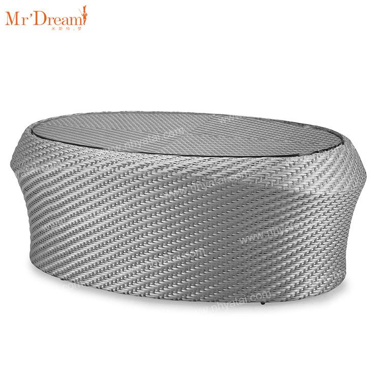 Гостиничный полиэтиленовый ротанговый уличный задний Алюминиевый эллипс Плетеный столик чайный столик