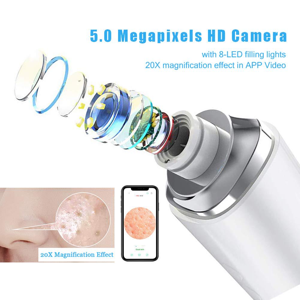 20X микроскоп, Чистка Пор, маска для удаления угрей с камерой Wi-Fi визуальный лица от прыщей присоски Съемник прибор для вакуумной чистки лица