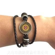 Индийские счастливые цветы ювелирные изделия религиозные мандалы трендовый браслет регулируемые подвески Zen стеклянный браслет из кабошо...(Китай)