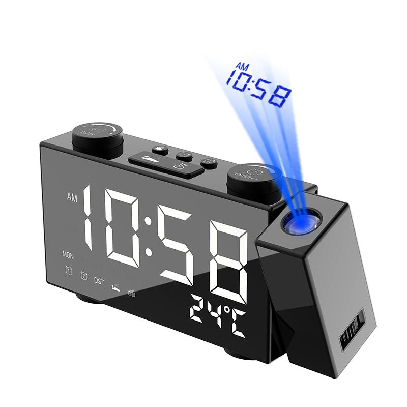 Новая форма USB Перезаряжаемый Цифровой Будильник FM-радио с зарядкой телефона и проекцией