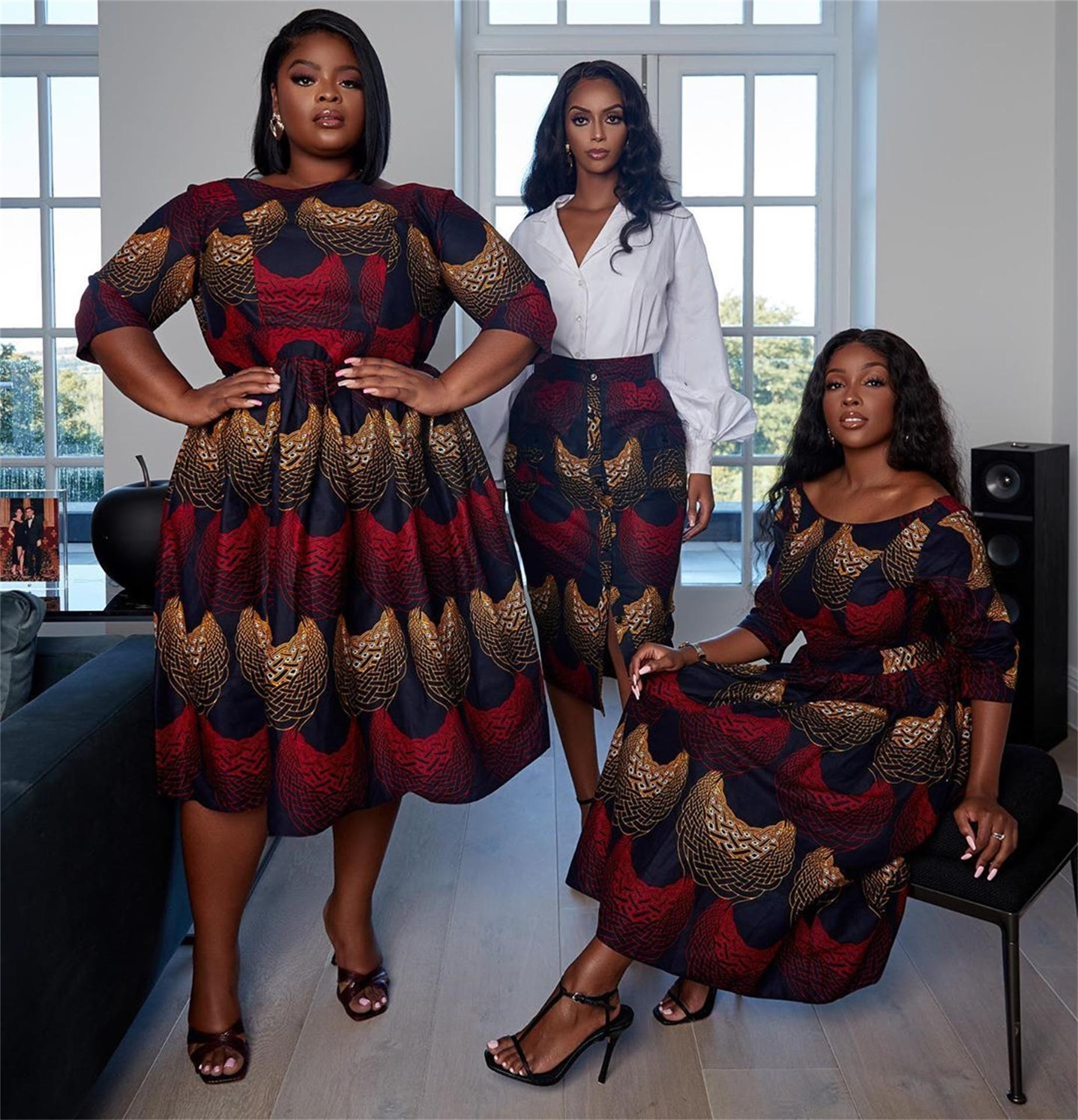 Популярный новый традиционный цифровой принт U-образный вырез сексуальное женское платье с рукавом средней длины африканское элегантное платье