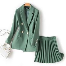 Женский однотонный Блейзер на пуговицах, костюм со складками и высокой талией, Модный женский комплект из 2 предметов с юбкой(Китай)