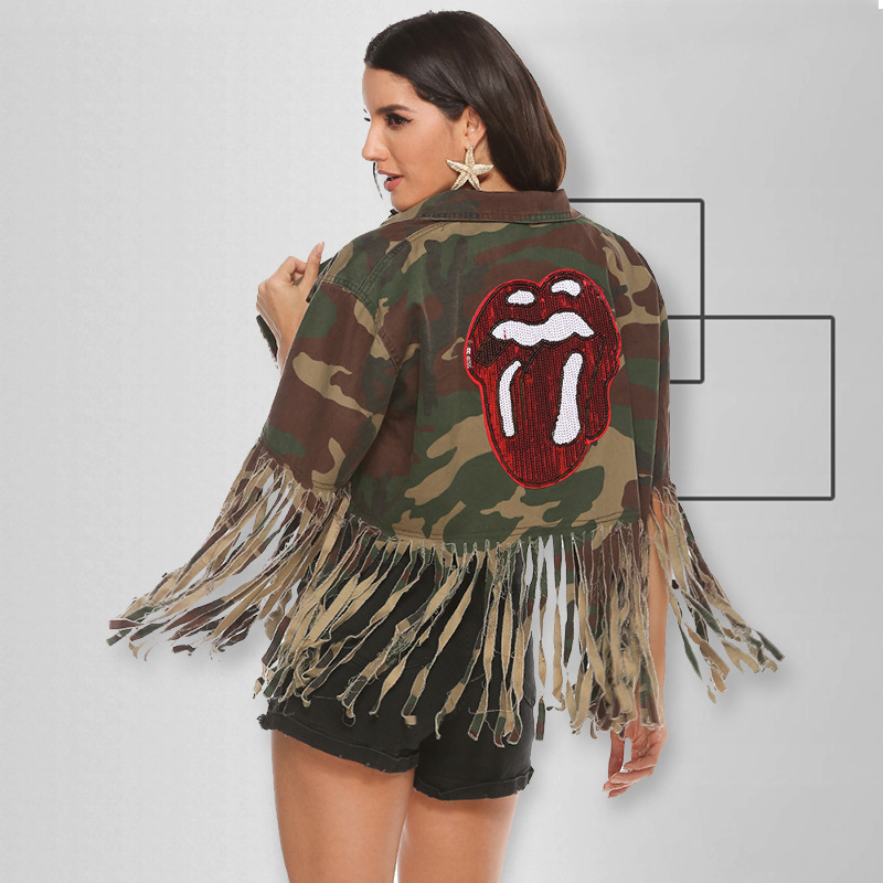 2020 High quality fashion tassel denim jacket short loose sequins embroidery camouflage women's jackets