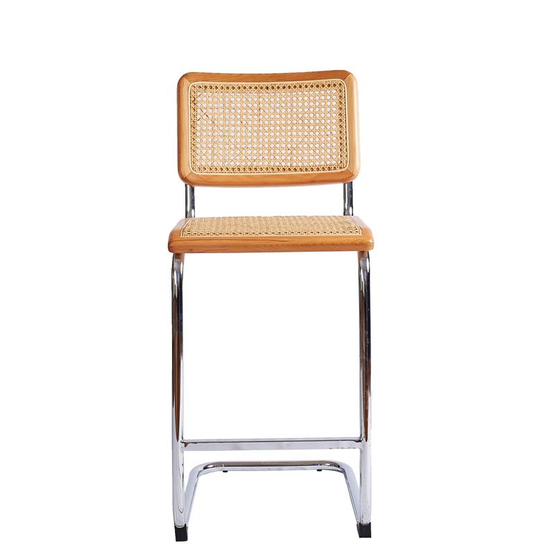Домашняя винтажная мебель, садовое деревянное кресло, металлические высокие ножки, обеденный стул с натуральным ротангом, барные стулья, барные стулья cadeira