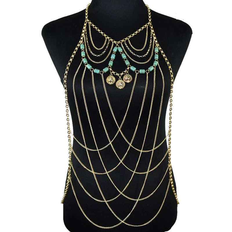 Women Body Chain Jewelry Harness Cross Over Body Chain Turquoise Beads and Coins Necklace Yiwu Making Supplier