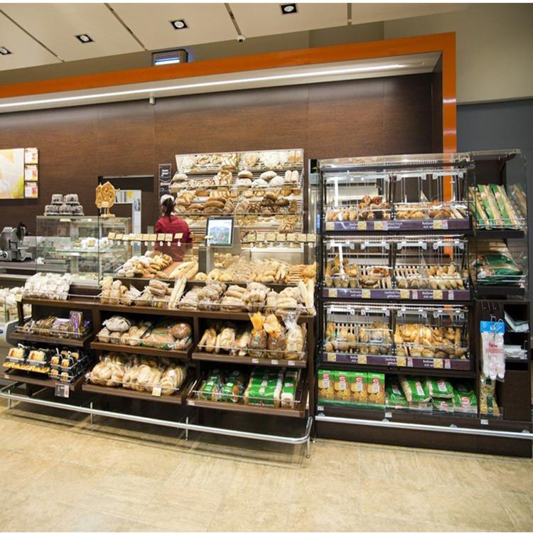 Supermarket bread cake display cabinet bakery showcase shelves