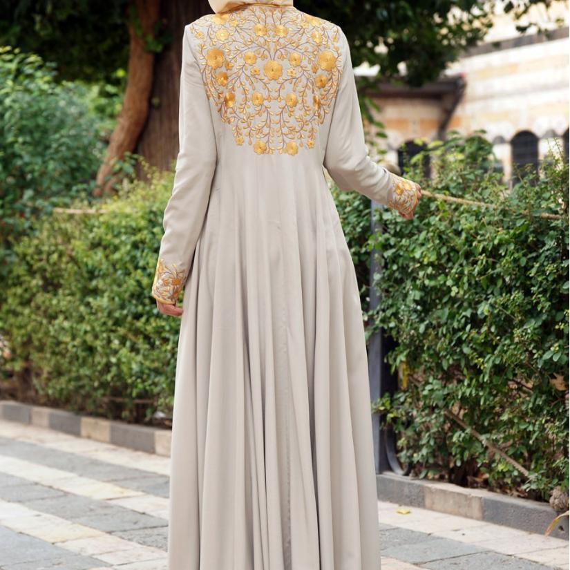 Исламских женщин шифон Абая длинное мусульманское платье с цветочным принтом, платье макси платье