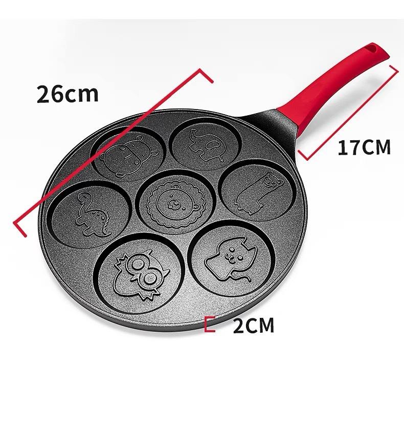 T12 7-Hole Cartoon Mini Portable Eggs Pancake Omelette Frying Pan NonStick Breakfast Cookware