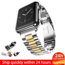 Ремешок для часов Apple Watch Series 5, 4, 3, 2, 42 мм, 40 мм, 44 мм, черный браслет из нержавеющей стали, адаптер для iWatch Band 4, 3, 38 мм(Китай)