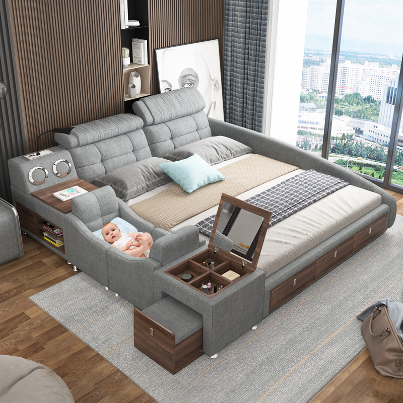 dismantled and washed modern contracted tatami   multifunctional bed
