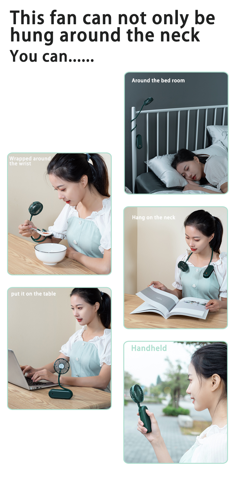 2021 New Creative Multi functional Flexible Bendable Hands free desk neck mini hand fan