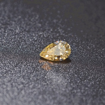 2ct 7x9mm Pear Shape Yellow Moissanite Deep Yellow Diamond with Best Luster