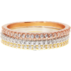 14K Gold Plated Stainless steel CZ Simulated Diamond Stackable Ring Eternity Bands for Women