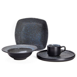 Unique Blue Stoneware Personalized Dinnerware Set including 230ml Mug 9inch Plate and Bowl and 8.5inch Soup Bowl