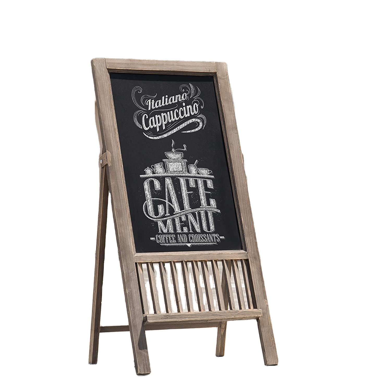 Vintage-Style Brown Wooden Freestanding Easel Stand Chalkboard Sidewalk Sign - Yola WhiteBoard | szyola.net
