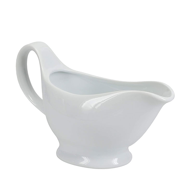 High Quality 16 Ounces Resists Cracking or Staining White Porcelain Sauce or Gravy Boat