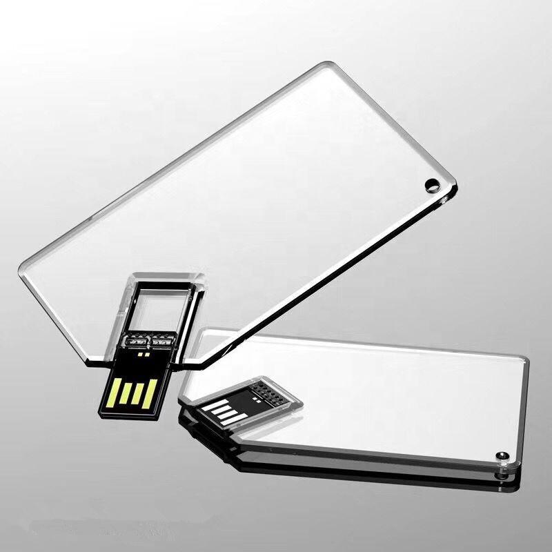 Clear acrylic card USB flash drive memory stick custom logo pen drives wholesale gadgets - USBSKY | USBSKY.NET