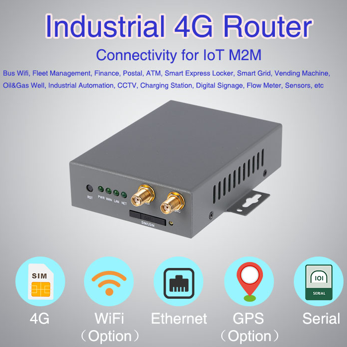 industrial cellular 4G LTE routers with vpn wifi ap client modem wireless sim card slot serial