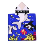 Bath Cape Soft Cotton Hooded Towel Poncho For Kids Bath Pool Beach Swim Boys Girls Cover-up Cape Cartoon Shark