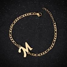 Персонализированные начальные браслеты A-Z 26 букв Алфавит Шарм браслет для женщин ювелирные изделия из нержавеющей стали Название Pulseiras(Китай)