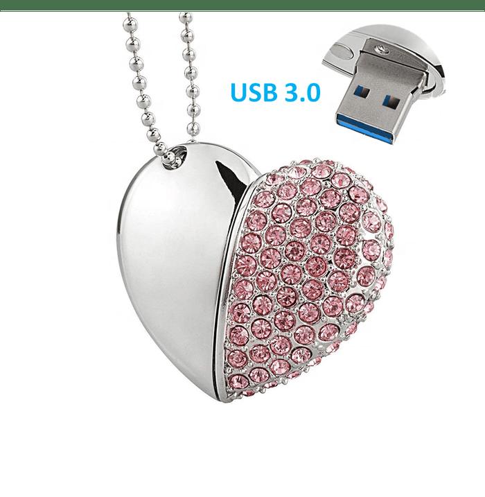 flashdisk USB Flash Drive Diamond Heart Shape USB 4gb 8gb 32gb 128gb jewelry pendrive 16gb crystal necklace usb - USBSKY   USBSKY.NET
