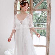 Женская летняя длинная ночная рубашка из модала с коротким рукавом, винтажное кружевное мягкое газовое сексуальное платье принцессы для сн...(Китай)