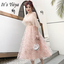 Женское вечернее платье It's Yiiya, элегантное розовое платье розового цвета на бретельках размера плюс, длиной до колена, E1396(Китай)