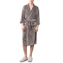 Фланелевый Халат унисекс, пижама на шнуровке с v-образным вырезом, плотный зимний длинный банный халат с карманами, сексуальная ночная рубаш...(Китай)