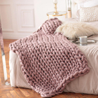 Handmade Yarn Thick Yarn Blanket Large Size Handmade Hot Sales Super Soft Chunky Acrylic Tube Yarn Thick Knitted Throw Blanket