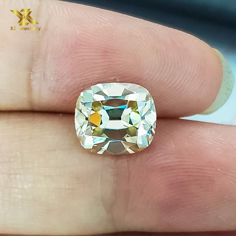 wholesale light yellow moissanite stones 7*8mm 2.5 carat Elongate cushion shape moissanite diamond price per carat